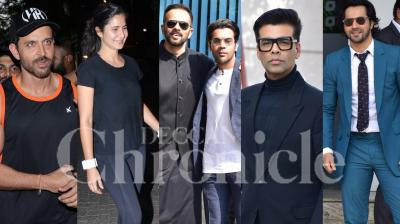 Filmmaker Karan Johar and stars like Ranbir Kapoor, Varun Dhawan, Rajkummar Rao and others landed in the capital city Thursday for a meeting with Prime Minister Narendra Modi. Hrithik Roshan celebrated his 45th birthday with friends and family. Bollywood stars Katrina Kaif, Amrita Rao and others were spotted in the city. Check out latest pictures here. (Photos: Viral Bhayani)