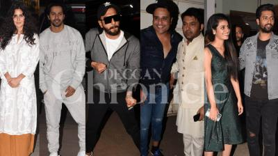 URI stars Vicky Kaushal and Yami Gautam hosted a special screening of their film for their friends and colleagues from the industry in Mumbai. Check out the photos here. (Pictures: Viral Bhayani)