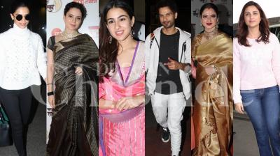 Bollywood stars Kangana Ranaut, Deepika Padukone, Sara Ali Khan, Rekha, Shahid Kapoor and others were snapped in the city. Check out the pictures here. (Photos: Viral Bhayani)