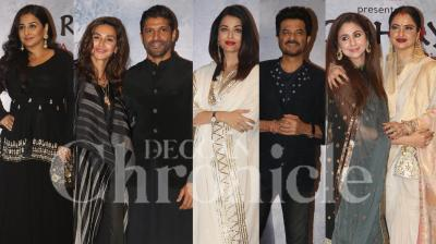 Bollywood stars Vidya Balan, Aishwarya Rai Bachchan, Farhan Akhtar-Shibani Dandekar, Anil Kapoor, filmmaker Zoya Akhtar and others attended the premiere of Raag Shayari, a Tribute to Kaifi Azmi on his birth centenary, in Mumbai on Jan 14, 2019. (Pictures: Viral Bhayani)