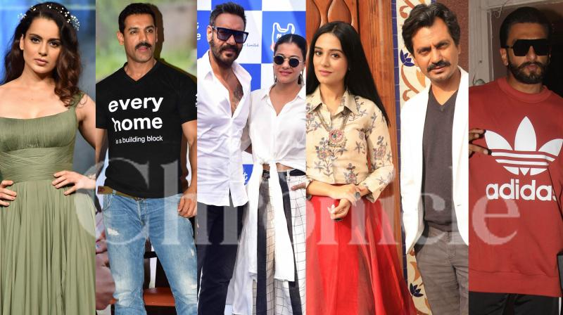 Bollywood stars Kangana Ranaut, Ranveer Singh, Ajay Devgn-Kajol, John Abraham and others were spotted in the city. Check out pictures here. (Photos: Viral Bhayani)