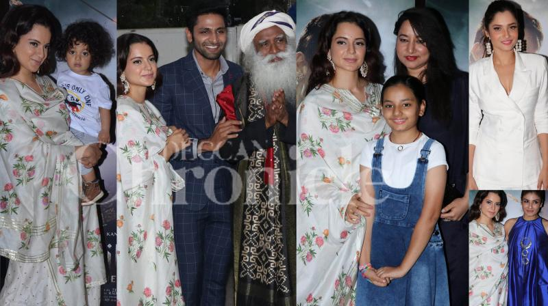The special screening of Kangana Ranaut starrer Manikarnika: The Queen of Jhansi saw the presence of Swami Sadhguru, director Nitesh Tiwari and wife Ashwiny Iyer Tiwari, Raveena Tandon, Ankita Lokhande, Kangana's nephew and sister among others. Check out the exclusive photos right here. (Pictures: Viral Bhayani)