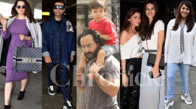 Bollywood stars Kangana Ranaut, Kriti Sanon, Karan Johar, new mom Ekta Kapoor, Saif Ali Khan and son Taimur and other celebrities were spotted in the city. Check out the latest exclusive pictures right here. (Pictures: Viral Bhayani)