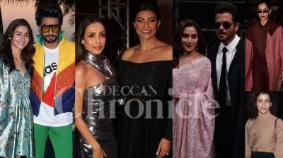Bollywood stars Sushmita Sen, Malaika Arora, Gully Boy actors Ranveer Singh-Alia Bhatt, Total Dhamaal stars Anil Kapoor-Madhuri Dixit Nene and others were spotted in the city. (Photos: Viral Bhayani)