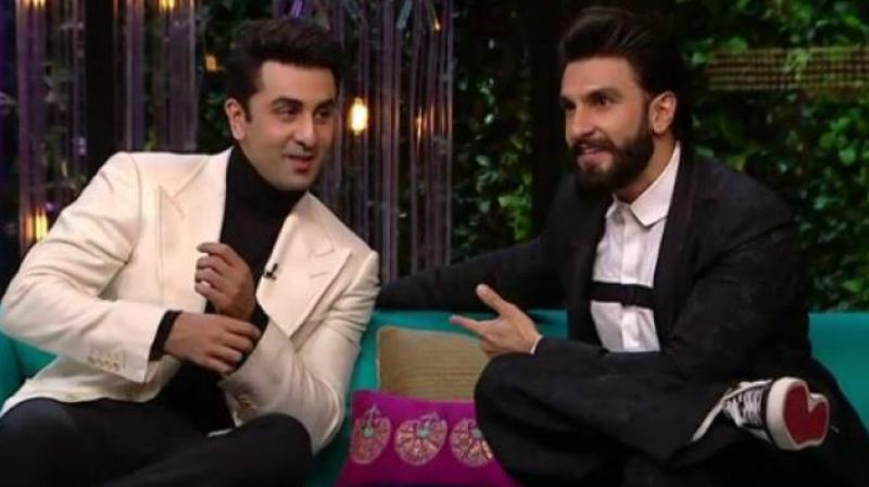 Ranveer Singh and Ranbir Kapoor on Koffee With Karan. (Photo courtesy: Star World)