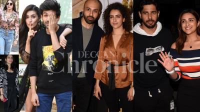 Bollywood stars Anushka Sharma, Fatima Sana Shaikh, Luka Chuppi couple Kartik Aaryan-Kriti Sanon, Photograph actress Sanya Malhotra, Sidharth Malhotra and Parineeti Chopra were spotted in the city. (Pictures by Viral Bhayani)