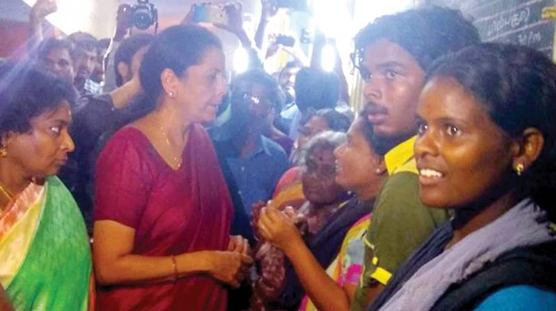 Defence minister Nirmala Sitaraman consoles Gaja victims.