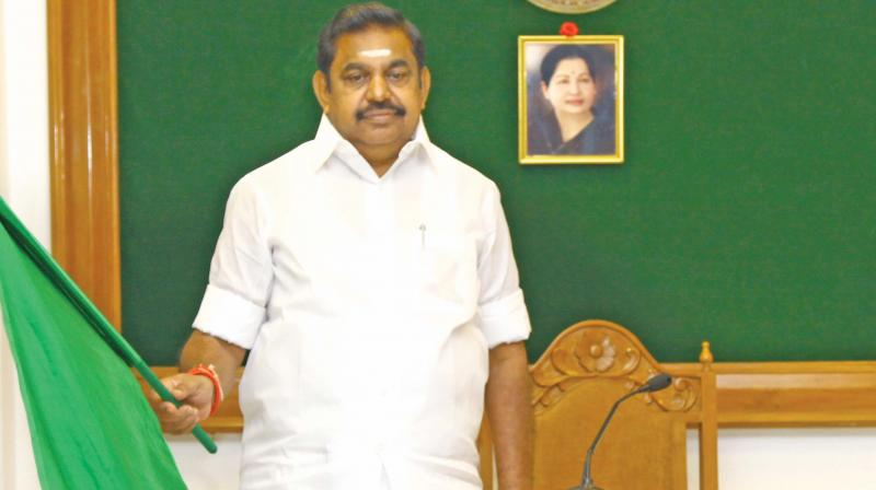 Chief Minister Edappadi K. Palaniswami flagging off the first container mainline vessel from Tuticorin port through video conferencing from the Secretariat on Wednesday. (Photo: DC)