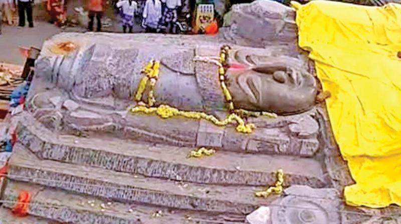 Before installation of 64 Feet Lord Vishnu statue, draws Devotees attention