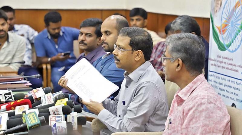 Tamil Nadu Chief Electoral Officer Satyabrata Sahoo briefs the media at secretariat regarding the upcoming parliamentary election. (Photo: DC)