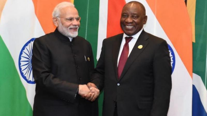 Prime Minister Narendra Modi and South African President Cyril Ramaphosa  (Photo: Twitter | @PresidencyZA)