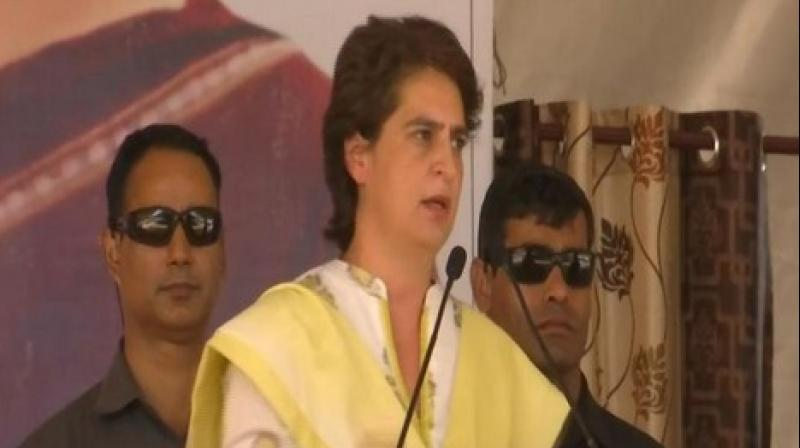 Priyanka Gandhi urged the people to give a crushing defeat to these parties in the Lok Sabha elections in the interest of the future of the state, nation and their children. (Photo: ANI twitter)