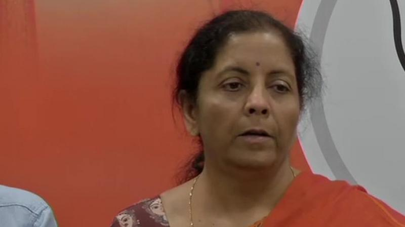 BJP leader and Union minister Nirmala Sitharaman told reporters that elections in six of the nine seats, which have undergone elections on Sunday, were marred by violence. (Photo: ANI twitter)