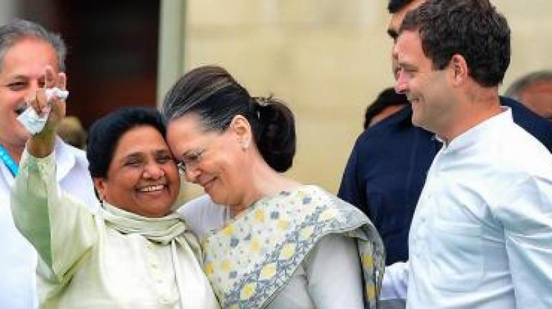 BSP Chief Mayawati will be meeting Congress President Rahul Gandhi and UPA chairperson Sonia Gandhi on Monday. (Photo: PTI)