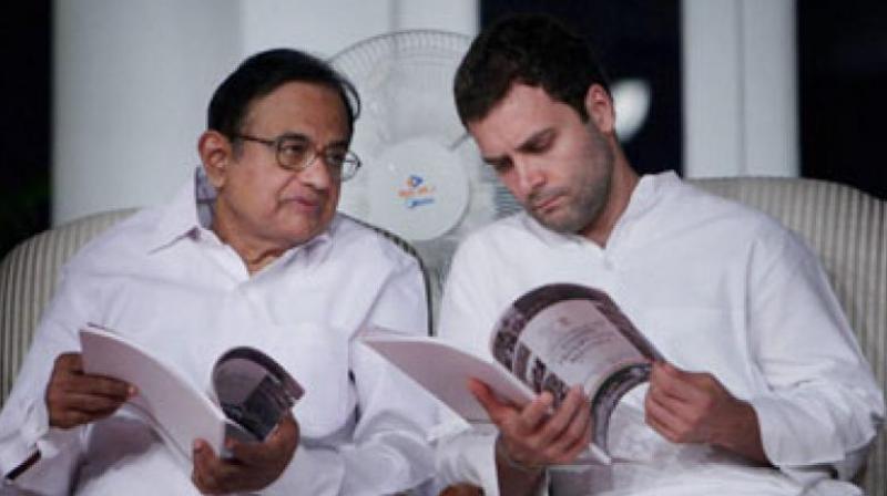 Congress president Rahul Gandhi along with senior leader P Chidambaram. (Photo: PTI)