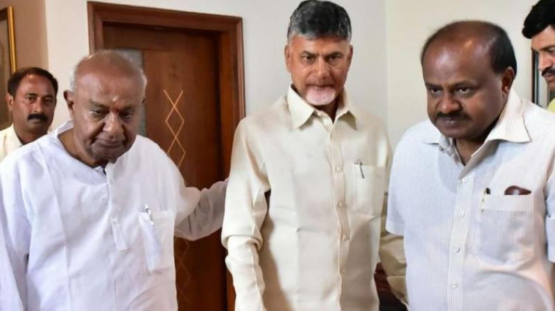 Naidu will later on Tuesday have a meeting with his son and Karnataka Chief Minister H D Kumaraswamy, official sources said. (Photo: @ncbn/Twitter)