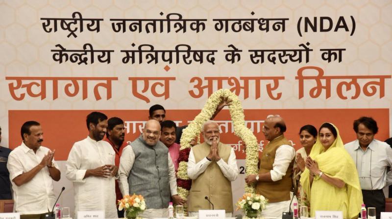 Union ministers Rajnath Singh, Nitin Gadkari, Arun Jaitley, J P Nadda and Prakash Javadekar were among the key leaders from the BJP at the meeting.  (Photo: Amit Shah twitter)