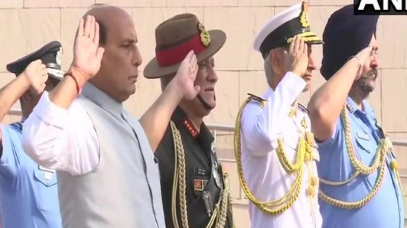 Army Chief General Bipin Rawat, Air Chief Marshal BS Dhanoa and Navy Chief Admiral Karambir Singh were also present at the memorial.  (Photo: ANI twitter)