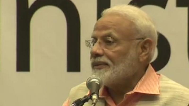 Prime Minister Narendra Modi addresses the Indian diaspora. (Photo: ANI)