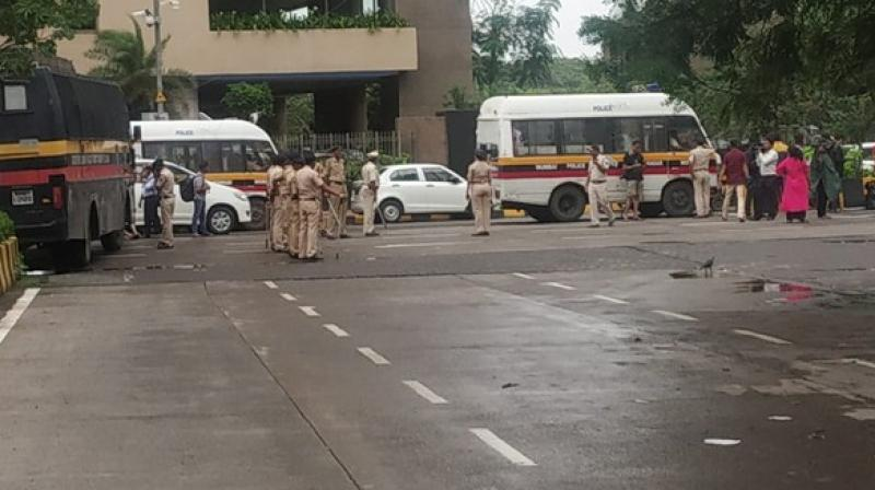 The Congress workers including party vice president Suraj Singh Thakur were detained by the police. (Photo: ANI)