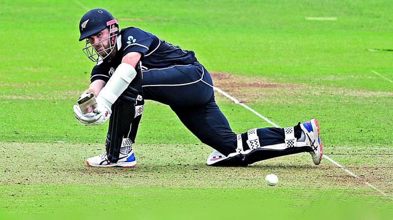 New Zealand captain Kane Williamson in action against England in their World Cup final at Lord's in London on Sunday.  (AP)