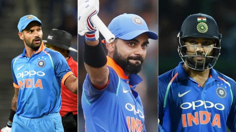 Virat Kohli consolidated his position at the top of the table, while openers Rohit Sharma and Shikhar Dhawan moved up in the latest ICC T20I Player Rankings released on Wednesday.(Photo: AP / PTI)
