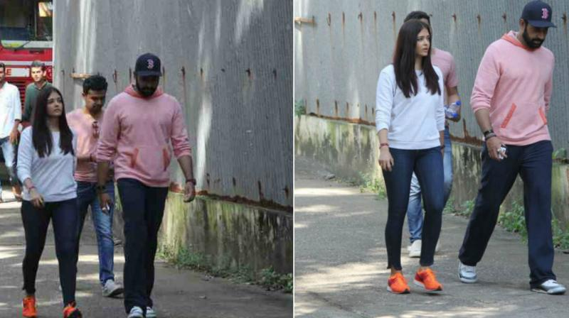 Aishwarya Rai and Abhishek Bachchan rushed to the La Mer building in Bandra, Mumbai as the news of massive fire surfaced.