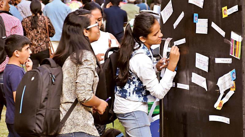 Students at the Bangalore Literature Festival on Saturday. (Photo: DC)