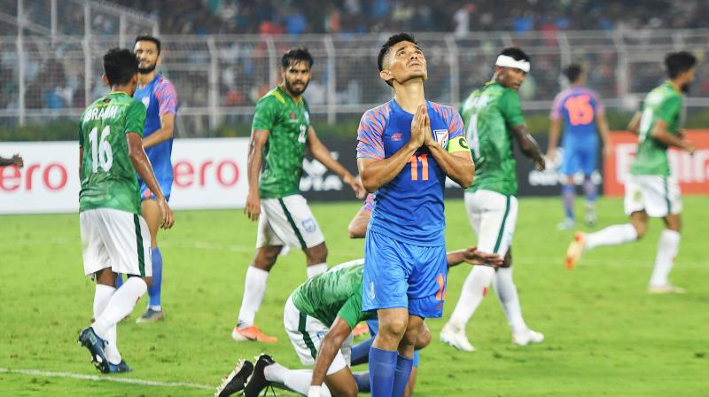 Inspirational captain Sunil Chhetri was not at his best as also goalkeeper Gurpreet Singh Sandhu. (Photo: AFP)