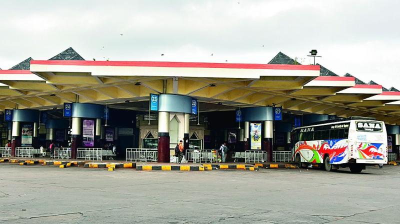 Hyderabad's Mahatma Gandhi Bus Depot wears a deserted look with a lone bus on Saturday.  (P. Surendra)
