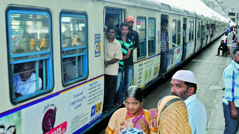 The MMTS services too see little rush of passengers though most buses remained off the roads due to Telangana state bandh called by TSRTC staff on Saturday.  (S. Surender Reddy)