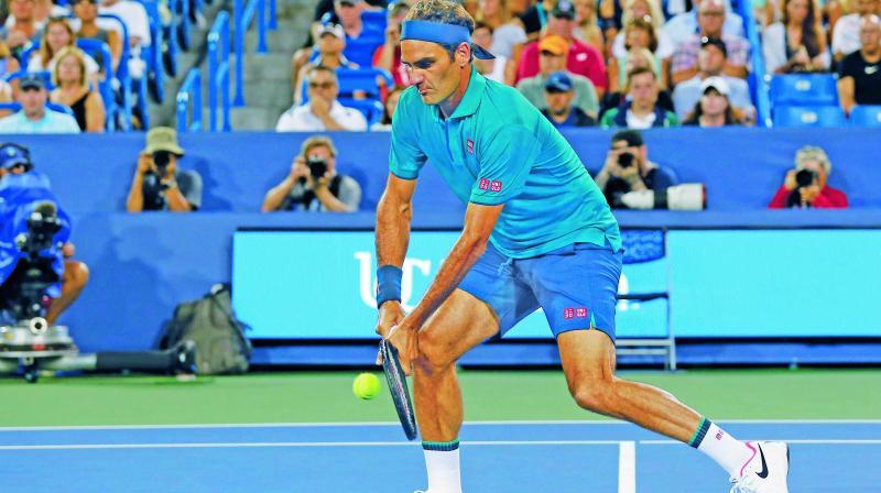 Roger Federer in action during the Cincinnati Open. (Photo: AP)
