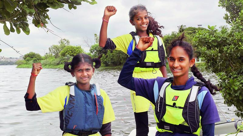Sailors of the Yacht Club of Hyderabad (L to R ) Jhansi, Preethi and Lakshmi selected for the Oman Asian Championships in September.