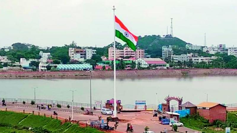 National Flag hoisted at Lakaram Tank in Khammam. (Photo: DC)