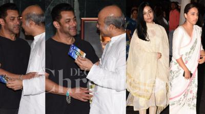 Bollywood celebrities Salman Khan, Amrita Rao, Swara Bhasker and others came to pay their last respects to late filmmaker Rajkumar Barjatya at the prayer meet. (Photos by Viral Bhayani)