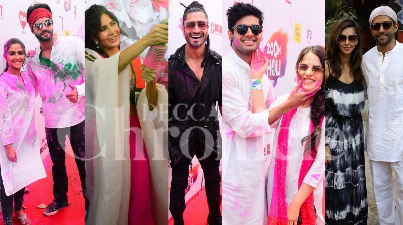 The Zoom Holi fest as well as Shabana Azmi's house holi party had several Bollywood celebrities present at the fun-filled event as they all played Holi with each other. Check out the exclusive colour-soaked pictures of B-Town celebrities on the occasion of Holi 2019. (Pictures: Viral Bhayani)