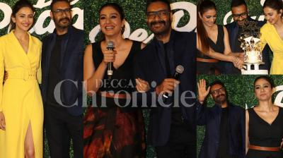 The trailer for upcoming rom-com 'De De Pyaar De' was launched on the occasion of Ajay Devgn's 50th birthday. Ajay's co-stars Tabu and Rakul Preet Singh, the makers and media as well as Ajay Devgn's fans were present at the event. (Photos: Viral Bhayani)