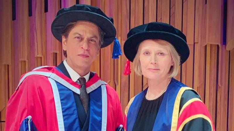 Shah Rukh Khan honoured with an Honorary doctorate in Philanthropy by The University of Law, London. (Photo: Twitter)