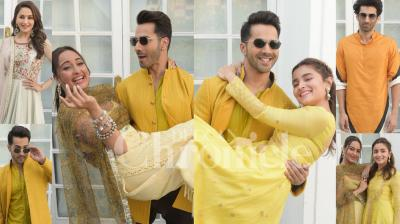 The Kalank cast Varun Dhawan, Alia Bhatt, Aditya Roy Kapur, Madhuri Dixit-Nene, and Sonakshi Sinha stun in traditional wear during the promotions of their film in Delhi. (Photos: Viral Bhayni)
