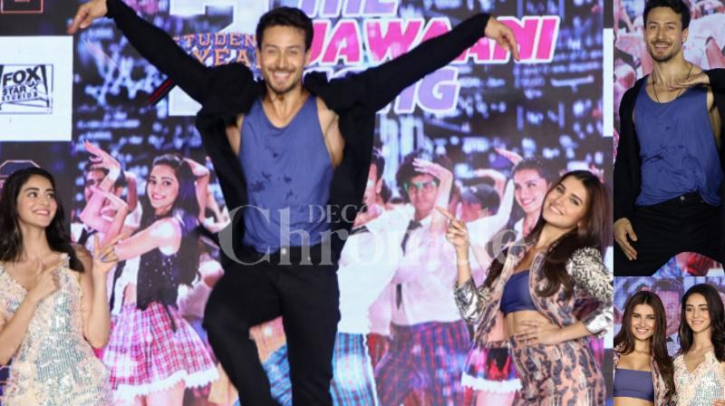 'The Jawaani Song' is the first track from 'SOTY2' and the trio of students - Tiger Shroff, Tara Sutaria and Ananya Panday - treated the crowd with their electrifying dance moves. (Photos: Viral Bhayani)