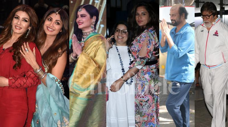 Bollywood stars Amitabh Bachchan, Rekha, Raveena Tondon-Shilpa Shetty, Richa Chadha, Janhvi Kapoor, Mallika Dua and Rajinikanth were spotted in the city. (Photos: Viral Bhayani)