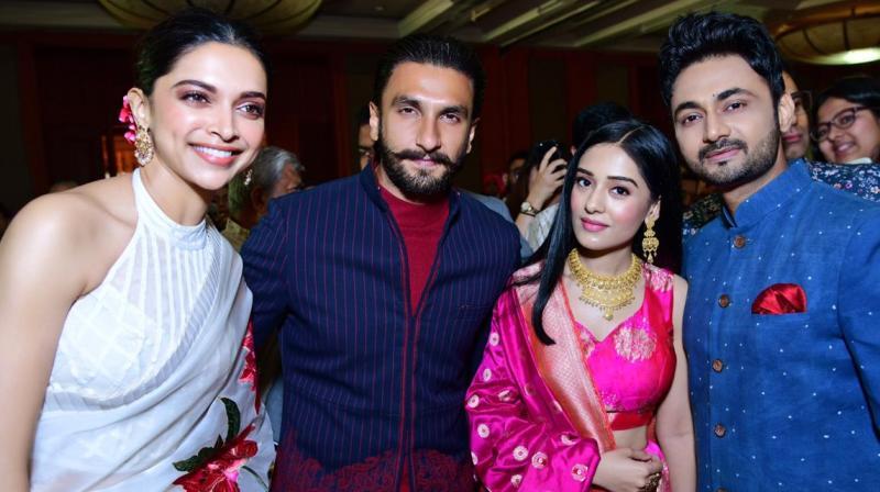 Deepika Padukone and Ranveer Singh met Amrita Rao and RJ Anmol at a wedding.