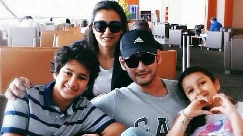 Mahesh Babu with his family.