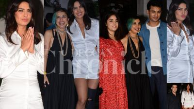 Priyanka Chopra on Tuesday attended the wrap party of her upcoming Bollywood film 'The Sky is Pink', along with co-actors Zaira Wasim and Rohit Saraf and others. (Pictures: Viral Bhayani)