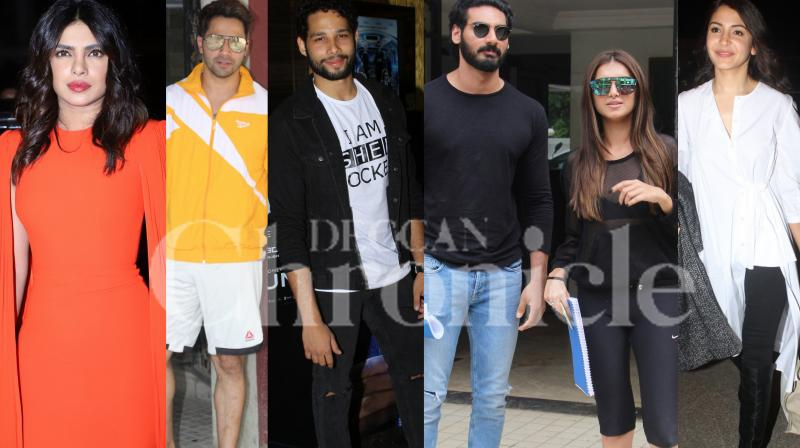 Bollywood stars Priyanka Chopra, Anushka Sharma, co-stars Ahan Shetty-Tara Sutaria, Varun Dhawan, Siddhant Chaturvedi and others were spotted in the city. (Pictures: Viral Bhayani)