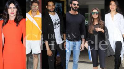 Bollywood stars Priyanka Chopra, Anushka Sharma, co-stars Ahan Shetty-Tara Sutaria, Varun Dhawan, Siddhant Chaturvedi and others were spotted in the city. (Pictures: Viral Bhayani)