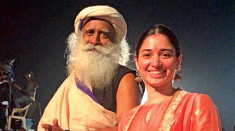 Tamannah with Sadhguru.