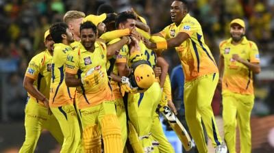Chennai Super Kings players celebrate after defeating Sunrisers Hyderabad in the final by eight wickets in Mumbai on Sunday night. (Photo: Rajesh Jadhav / Deccan Chronicle)