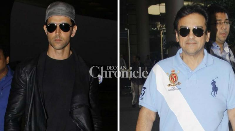 Hrithik Roshan and Adnan Sami were spotted at the Mumbai airport on Sunday. (Photo: Viral Bhayani)