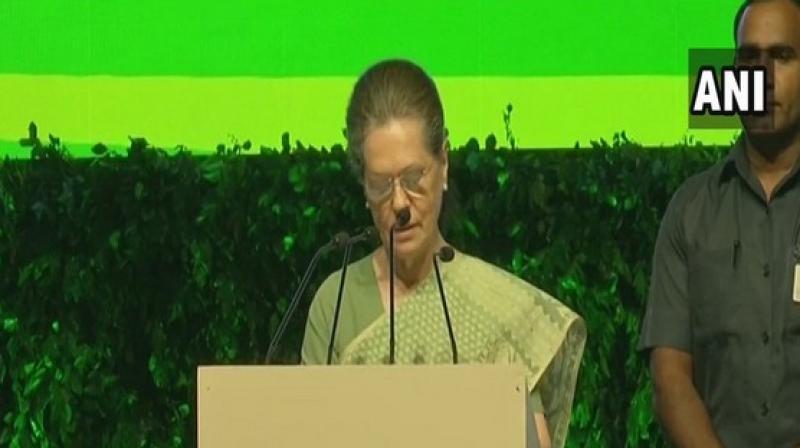 Sonia Gandhi addressing 'Rajiv 75' event in New Delhi. (Photo: ANI)